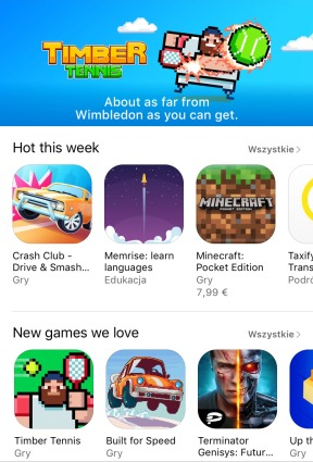 New games we love Timber Tennis has been featured in App Store
